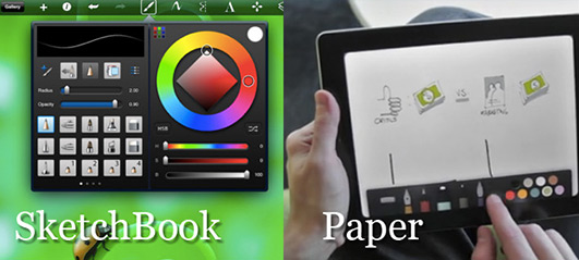 Sketchbook 和 Paper 之間的差異。